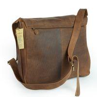 Harolds, 310403 – Natur-Braune mittel-Große Umhängetasche bzw. Messenger Bag aus Leder, Rückansicht - 05