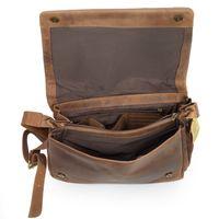 Harolds, 310403 – Natur-Braune mittel-Große Umhängetasche bzw. Messenger Bag aus Leder, Aufsicht geöffnet - 04