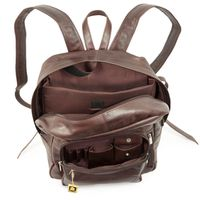 Hamosons – Large leather backpack size L / laptop backpack up to 15.6 inches, made out of oiled leather, chestnut brown, model 514-3