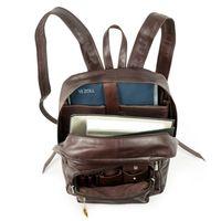 Hamosons – Großer Lederrucksack Größe L / Laptop-Rucksack bis 15,6 Zoll, aus geöltem Leder, Kastanien-Braun, Modell 514