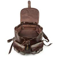 Hamosons 560 - Großer, dunkelbrauner Lederrucksack bzw. Laptop Rucksack aus geöltem Leder, Aufsicht geöffnet, kein Inhalt - 03