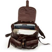 Hamosons 560 - Großer, dunkelbrauner Lederrucksack bzw. Laptop Rucksack aus geöltem Leder, Aufsicht geöffnet, Inhalt Laptop und Unterlagen - 04