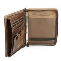 Harolds, 385403 - Elegante, braune A4 Schreibmappe bzw. Ringbuchmappe aus Leder, Innenansicht von der Seite  - 04