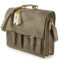 Hamosons – Classic briefcase / teacher bag size L made out of buffalo leather, dark grey, model 600