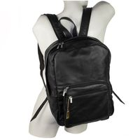 Hamosons – Large leather backpack size L / laptop backpack up to 15.6 inches, made out of nappa leather, black, model 514