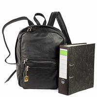 Hamosons 514 - Großer, schwarzer Lederrucksack bzw. Laptop Rucksack aus Nappaleder, Frontansicht mit  A4 Aktenordner daneben - 07