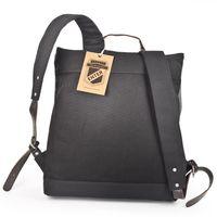 Enter, F15 EDSS1304 12 - Großer, stylischer schwarz-grauer Canvas-Rucksack bzw. Vintage-Rucksack, Rückansicht - 03