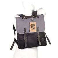 Enter – Großer stylischer Canvas Rucksack / Vintage Rucksack, Schwarz mit Grau, dunkles Leder, Modell 1304