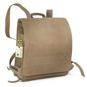 Jahn-Tasche, 670 - Großer, brauner Lederrucksack bzw. Lehrerrucksack, Seitenansicht - 01