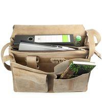 Jahn-Tasche, 677 - Große, beige Aktentasche bzw. Lehrertasche, Aufsicht geöffnet, Inhalt A4-Aktenordner, Laptop, Flasche - 02