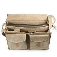 Jahn-Tasche, 677 - Große, beige Aktentasche bzw. Lehrertasche, Aufsicht geöffnet, Detailansicht Innenfächer - 03