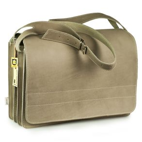 Jahn-Tasche – Very Large briefcase / teacher bag size XXL made out of buffalo leather, light grey, model 677
