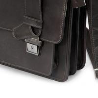 Harolds – Klassische Aktentasche / Lehrertasche Größe L aus Leder, Dunkel-Braun, Modell 294035