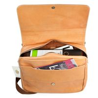 Hamosons – Laptop shoulder bag size M up to 14 inches, made out of Nappa leather, beige, model 938