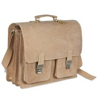 Hamosons – Large briefcase / teacher bag size XL made out of buffalo leather, cream beige, model 690