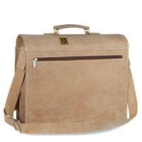 Hamosons – Große Aktentasche / Lehrertasche Größe XL aus Büffel-Leder, Creme-Beige, Modell 690