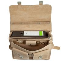 Hamosons – Large briefcase / teacher bag size XL made out of buffalo leather, cream beige, model 690-3