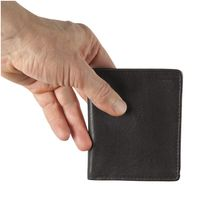 Hamosons – Small wallet / billfold size S for men, made out of leather, upright format, black, model 105