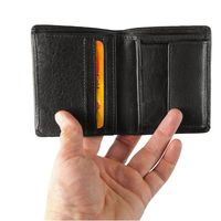 Hamosons – Small wallet / billfold size S for men, made out of leather, upright format, black, model 105-2
