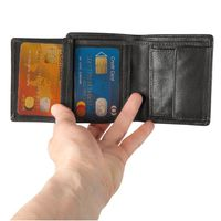 Hamosons – Small wallet / billfold size S for men, made out of leather, upright format, black, model 105-4