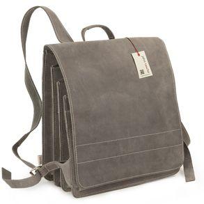 Jahn-Tasche – Sehr Großer Lederrucksack / Lehrer-Rucksack Größe XL aus Büffel-Leder, Grau, Modell 670