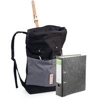 Enter, S16CC1407 21 - Großer schwarz-grauer Canvas-Rucksack bzw. Rolltop Backpack im schicken Retro-Style, Frontansicht mit A4-Ordner daneben zum Größenvergleich - 04
