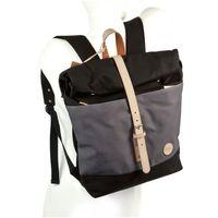 Enter – Großer Canvas Rucksack Größe L / Rolltop Backpack im coolen Retro-Style, Schwarz mit Grau, Modell 1407