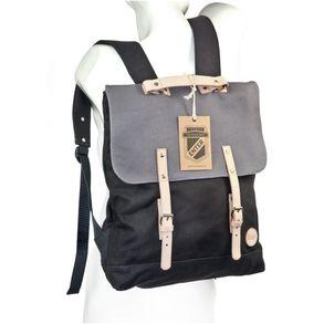 Enter – Großer stylischer Canvas Rucksack / Vintage Rucksack Größe L, Schwarz mit Grau, helles Leder, Modell 1304