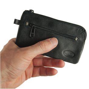 Branco, 018 - Großes Schlüsseletui bzw. Schlüsselmäppchen aus Leder in schwarz, Rückansicht mit Reißverschlussfach - 01