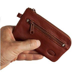 Branco, 018 - Großes Schlüsseletui bzw. Schlüsselmäppchen aus Leder in braun, Rückansicht mit Reißverschlussfach - 01