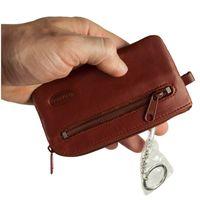 Branco, 018 - Großes Schlüsseletui bzw. Schlüsselmäppchen aus Leder in braun, Rückansicht mit Reißverschlussfach und Schlüsselring - 03
