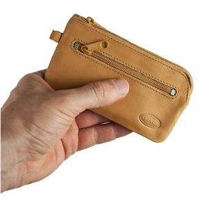 Branco, 018 - Großes Schlüsseletui bzw. Schlüsselmäppchen aus Leder in beige, Rückansicht mit Reißverschlussfach - 01