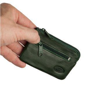 Branco, 019 - Kleines Schlüsseletui bzw. Schlüsselmäppchen aus Leder in grün, Rückansicht mit Reißverschlussfach - 01