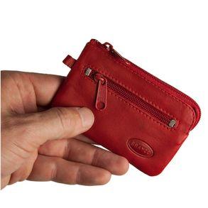 Branco, 019 - Kleines Schlüsseletui bzw. Schlüsselmäppchen aus Leder in rot, Rückansicht mit Reißverschlussfach - 01