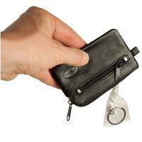 Branco, 019 - Kleines Schlüsseletui bzw. Schlüsselmäppchen aus Leder in schwarz, Rückansicht mit Reißverschlussfach und Schlüsselring - 03