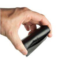 Branco, 108 - Sehr kleine Geldbörse bzw. Mini-Münzbörse in schwarz, Rückansicht mit Detailansicht äußeres Einsteckfach - 05