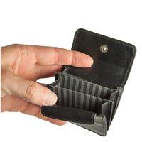 Branco, 108 - Sehr kleine Geldbörse bzw. Mini-Münzbörse in schwarz, Frontansicht geöffnet, Detailansicht der drei Innenfächer - 03