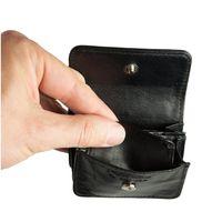Branco, 108 - Sehr kleine Geldbörse bzw. Mini-Münzbörse in schwarz, Frontansicht geöffnet - 02