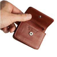 Branco – Sehr Kleine Geldbörse / Mini Münzbörse Größe XS aus Leder, Braun, Modell 108