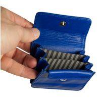 Branco, 108 - Sehr kleine Geldbörse bzw. Mini-Münzbörse in blau, Frontansicht geöffnet, Detailansicht der drei Innenfächer - 03