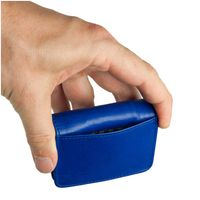 Branco, 108 - Sehr kleine Geldbörse bzw. Mini-Münzbörse in blau, Rückansicht mit Detailansicht äußeres Einsteckfach - 05