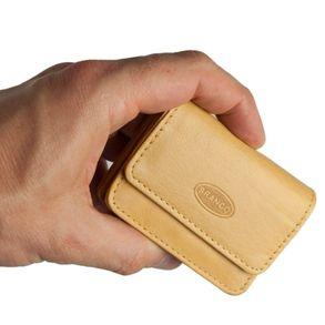 Branco – Sehr Kleine Geldbörse / Mini Münzbörse Größe XS aus Leder, Natur-Beige, Modell 108