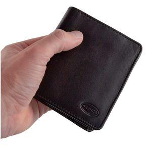 Branco – Kleine Geldbörse / Portemonnaie Größe S für Herren aus Leder, Hochformat, Schwarz, Modell 12057