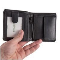 Branco – Small wallet / billfold size S for men made out of leather, upright format, black, model 12057-6