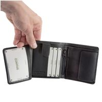 Branco – Small wallet / billfold size S for men made out of leather, upright format, black, model 12057-2