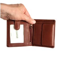 Branco – Small wallet / billfold size S for men made out of leather, upright format, brown, model 12057-6