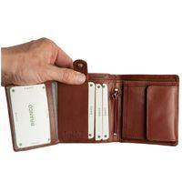 Branco – Kleine Geldbörse / Portemonnaie Größe S für Herren aus Leder, Hochformat, Braun, Modell 12057
