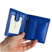Branco, 12057 - Kleine Geldbörse bzw. kleines Portemonnaie für Herren aus Leder in blau, Frontansicht aufgeklappt - 02