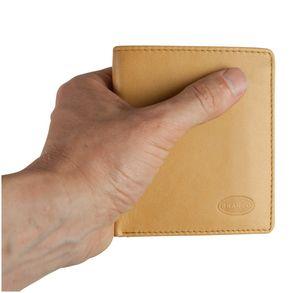 Branco, 12057 - Kleine Geldbörse bzw. kleines Portemonnaie für Herren aus Leder in beige, Frontansicht - 01