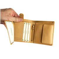 Branco – Small wallet / billfold size S for men made out of leather, upright format, beige, model 12057-2